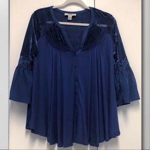 Sapphire blue boho style velvet trim peasant top M